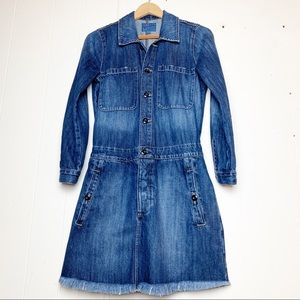 Lucky Brand Denim Raw Hem Long Sleeve Shirt Dress